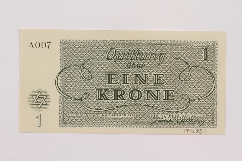 1995.83.1 back Theresienstadt ghetto-labor camp scrip, 1 krone note
