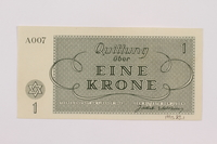 1995.83.1 back Theresienstadt ghetto-labor camp scrip, 1 krone note  Click to enlarge