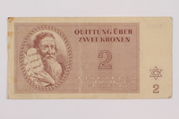 1995.83.2 front Theresienstadt ghetto-labor camp scrip, 2 kronen note  Click to enlarge