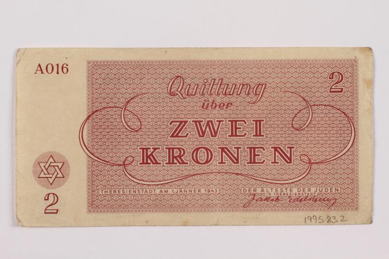 1995.83.2 back Theresienstadt ghetto-labor camp scrip, 2 kronen note