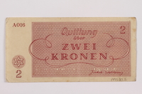 1995.83.2 back Theresienstadt ghetto-labor camp scrip, 2 kronen note  Click to enlarge