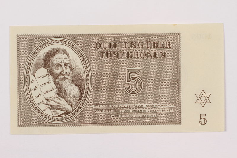 1995.83.3 front Theresienstadt ghetto-labor camp scrip, 5 kronen note
