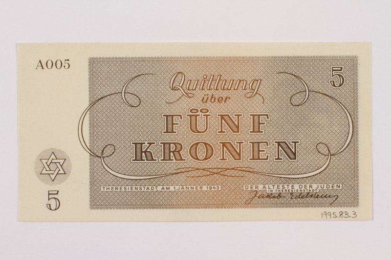 1995.83.3 back Theresienstadt ghetto-labor camp scrip, 5 kronen note