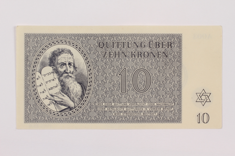 1995.83.4 front Theresienstadt ghetto-labor camp scrip, 10 kronen note