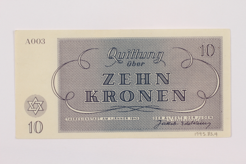 1995.83.4 back Theresienstadt ghetto-labor camp scrip, 10 kronen note