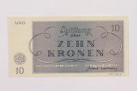 1995.83.4 back Theresienstadt ghetto-labor camp scrip, 10 kronen note  Click to enlarge