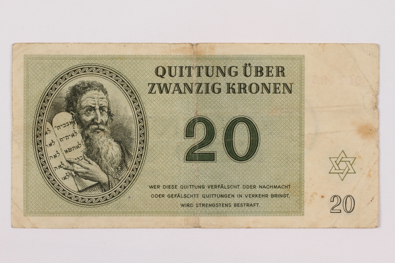1995.83.5 front Theresienstadt ghetto-labor camp scrip, 20 kronen note