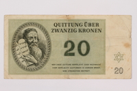 1995.83.5 front Theresienstadt ghetto-labor camp scrip, 20 kronen note  Click to enlarge