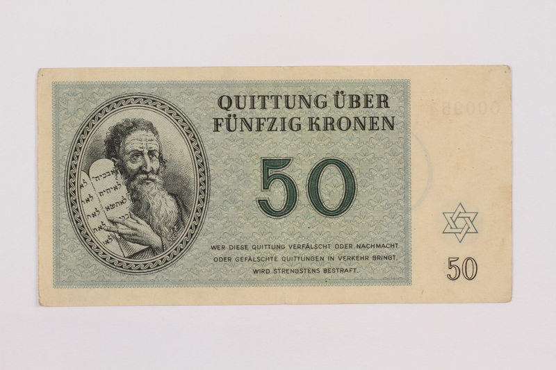 1995.83.6 front Theresienstadt ghetto-labor camp scrip, 50 kronen note