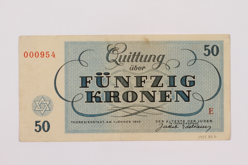 1995.83.6 back Theresienstadt ghetto-labor camp scrip, 50 kronen note