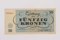 1995.83.6 back Theresienstadt ghetto-labor camp scrip, 50 kronen note  Click to enlarge