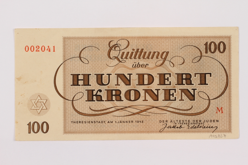 1995.83.7 back Theresienstadt ghetto-labor camp scrip, 100 kronen note