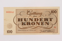 1995.83.7 back Theresienstadt ghetto-labor camp scrip, 100 kronen note  Click to enlarge