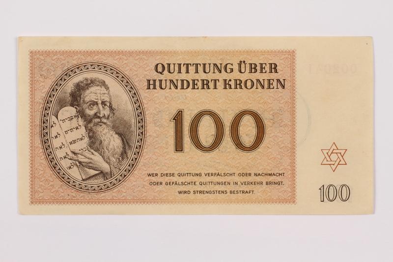 1995.83.7 front Theresienstadt ghetto-labor camp scrip, 100 kronen note