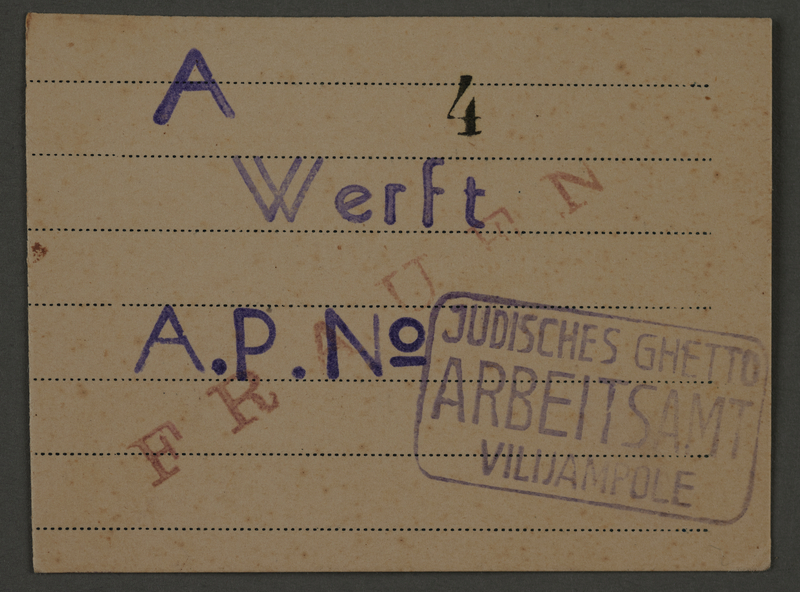 1995.89.100 front Work pass from the Kovno ghetto.