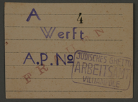 1995.89.100 front Work pass from the Kovno ghetto.  Click to enlarge