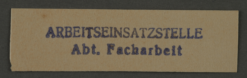 1995.89.1001 front Ink stamp impression from an administrative department of the Kovno ghetto