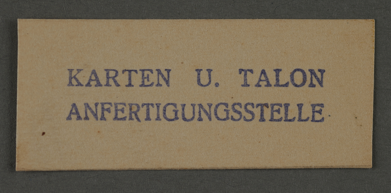 1995.89.1002 front Ink stamp impression from an administrative department of the Kovno ghetto