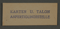 1995.89.1002 front Ink stamp impression from an administrative department of the Kovno ghetto  Click to enlarge