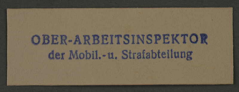 1995.89.1004 front Ink stamp impression from an administrative department of the Kovno ghetto
