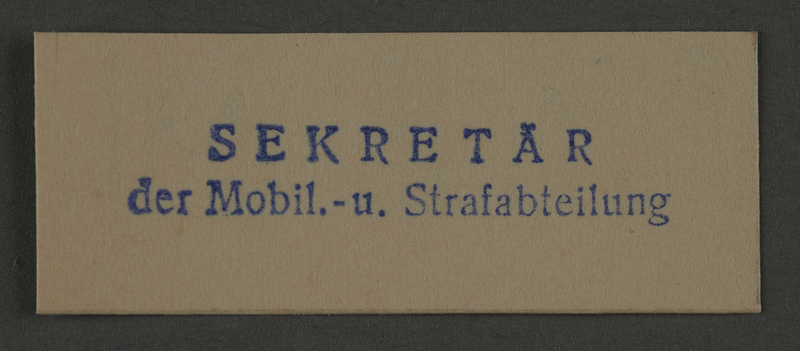 1995.89.1005 front Ink stamp impression from an administrative department of the Kovno ghetto