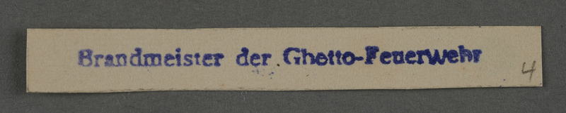 1995.89.1007 front Ink stamp impression from an administrative department of the Kovno ghetto