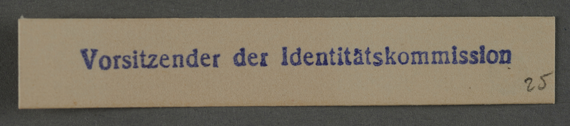 1995.89.1008 front Ink stamp impression from an administrative department of the Kovno ghetto