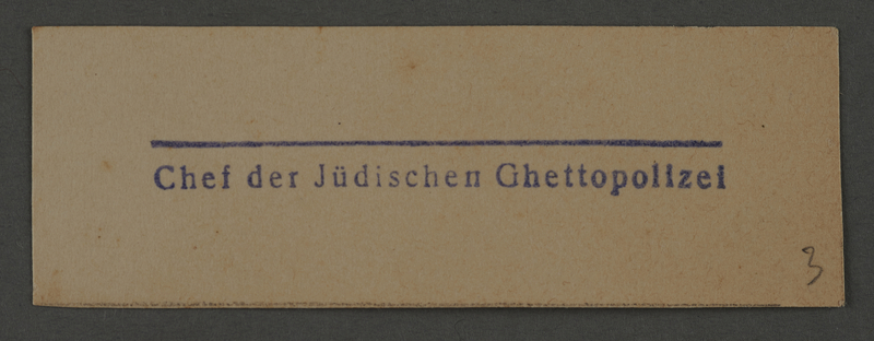 1995.89.1009 front Department stamp impression for the Chief of Jewish Ghetto Police in the Kovno ghetto