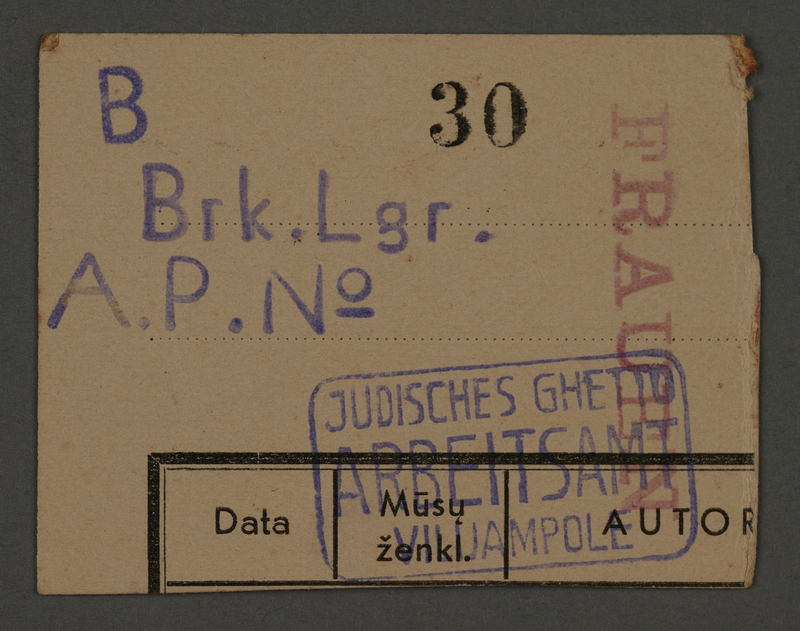 1995.89.101 front Work pass from the Kovno ghetto