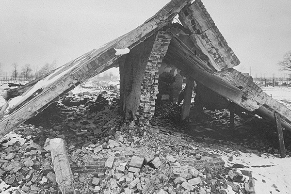 The ruins of Crematorium II at Auschwitz photographed in February 1945. <i>US Holocaust Memorial Museum, courtesy of Instytut Pamiȩci Narodowej</i>