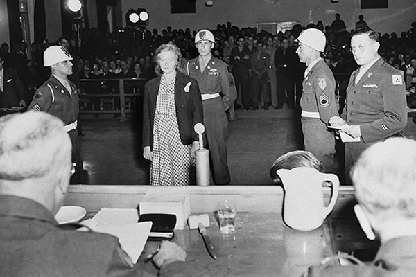 Ilse Koch, wife of Buchenwald commandant Karl Otto Koch, is sentenced to life in prison in 1947 at a United States Army trial. <i>US Holocaust Memorial Museum, courtesy of National Archives and Records Administration, College Park</i>
