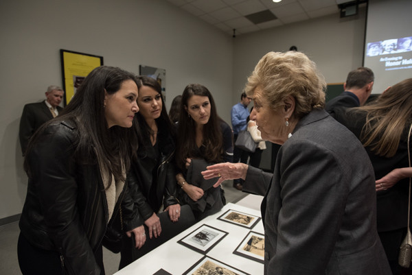 Holocaust Survivor and Museum volunteer Halina Peabody speaks with participants in the 2016 Next Generation Mission Trip. <i>Jason Colston for US Holocaust Memorial Museum</i>