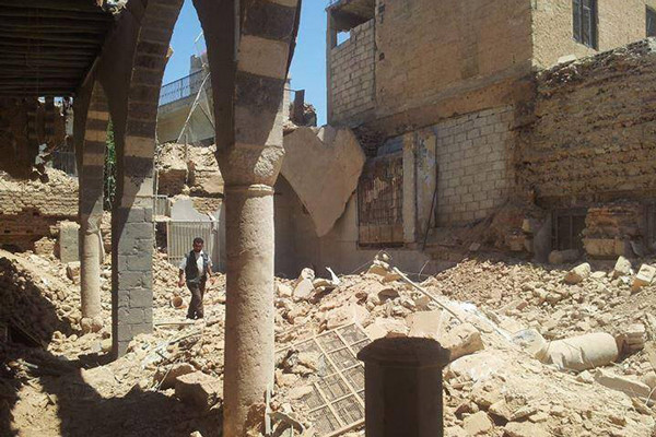 The destroyed synagogue in Jobar, Syria, that local residents had tried to protect. <i>Courtesy of Aahed Sulayman</i>