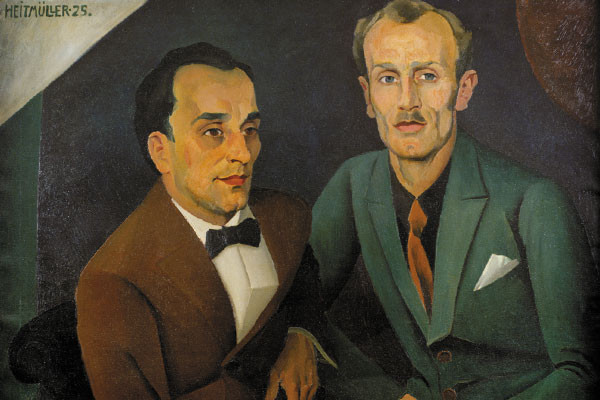 """Oil on canvas by August Heitmuller entitled """"A Pair of Friends (Freundespaar)."""" <i>US Holocaust Memorial Museum, courtesy of Schwules Museum</i>"""