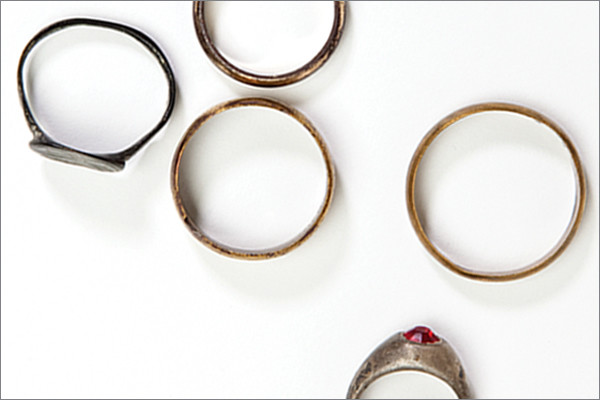 Rings discovered by Father Patrick Desbois near a mass grave in western Ukraine. <i>US Holocaust Memorial Museum, gift of Father Patrick DesboisM</i>
