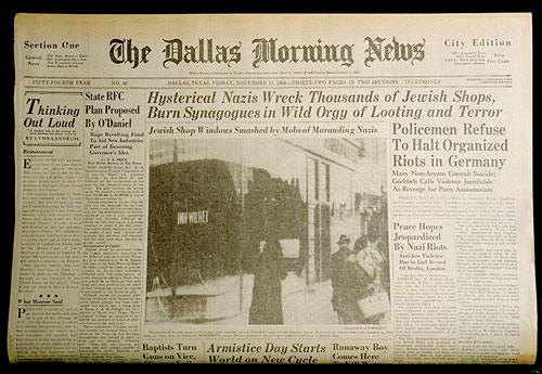 USHMM Artifact Gallery: Dallas Morning News coverage of Kristallnacht
